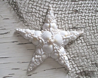 Nautical Shell Star, White, Wall Decor.  Beach Cottage by searchnrescue2.