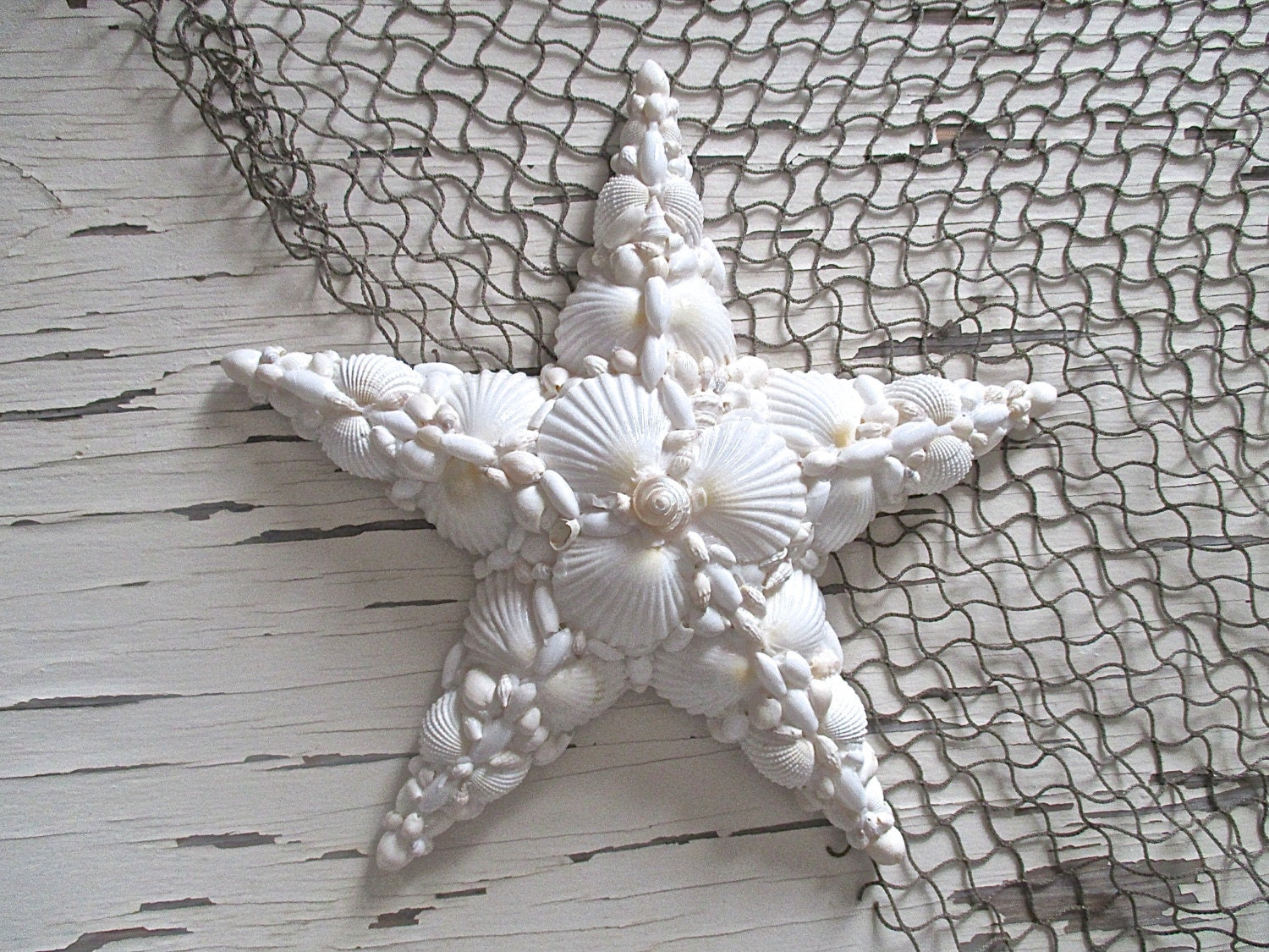 White Star Wall Decor : Nautical shell star white wall decor beach by searchnrescue