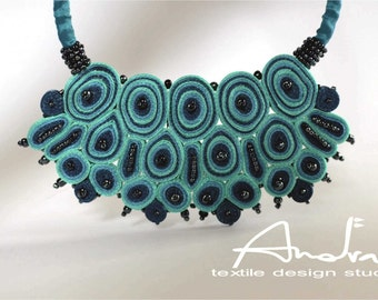 Bib necklace turquoise, statement necklace, fiber necklace blue, Cloud design collection - Textile jewelry OOAK  ready to ship