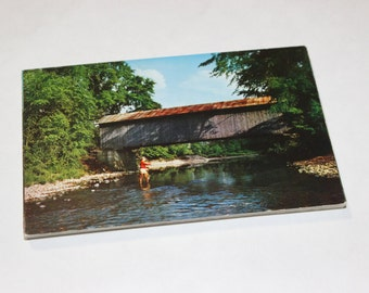 25 Vintage Vermont Covered Bridge Chrome Postcards Blank - Travel Themed Wedding Guestbook