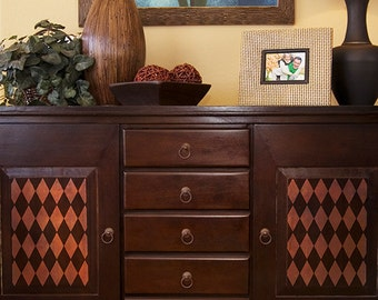 Geometric Harlequin Small Furniture Stencil for DIY and Craft Stencil Projects.