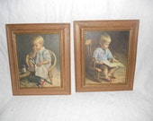 Two Vintage Little Boy and Little Girl Rectangle Wooden Frames  - Windsor Art Products Wall Accessory - Art Deco - Ready to Ship