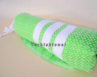 Turkishtowel-2015 Collection-Hand woven,medium weight,very soft,BAKLAVA pattern,Bath,Beach,Travel,Wedding Towel-Neon Green,white stripes