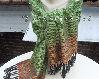 Turkishtowel-2015 Collection-Hand woven,cotton warp,wool and cashmere Shawl-Very warm,lovely-Apple green and orange pin stripes