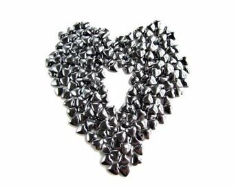 55 High Quality Hematite Puffed Heart Beads
