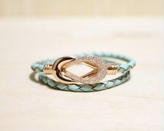 Rose Gold Plated Eternity Motive leather Bracelet(Mint)