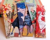 Bookmarks - French Fashion Models Paris France Twenties 1920s Flapper Cloche Hat Silk Stockings High Heels - Set Of 6 Large Paper Bookmarks