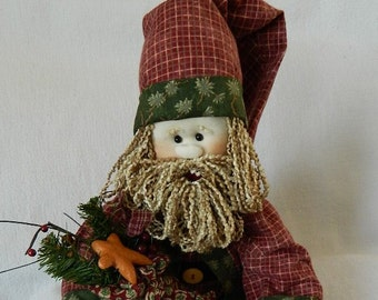 Santa ~ Soft Sculptured Doll 28 Inches tall ~ Red Plaid