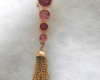 Sarah Coventry Pink Rhinestone Stacked Tassel Pin Brooch