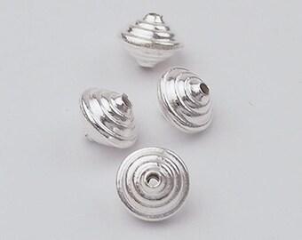 4 of Karen Hill Tribe Silver Spiral Beads 7.5x9mm. :ka3951