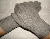 Hand knitted warm soft gray women gloves