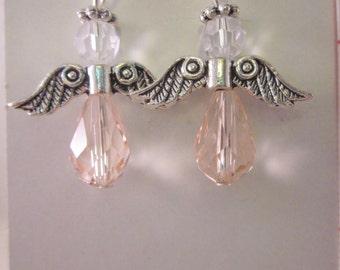 "Birthstone Angel Earrings  ""October -Pink"",  Silver Finish, Pink, SRAJD"