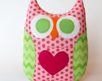 Personalized Owl Tooth Fairy Pillow - Pink and Green