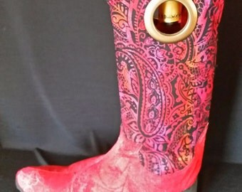 Cowboy Boot Wine Tote - Red and Black