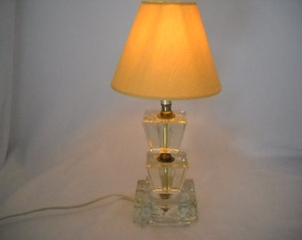 Vintage Clear Glass Ashtray Style Lamp/Glass Cubes Lamp/Table Lamp