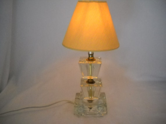 Vintage Clear Glass Ashtray Style Lamp Glass Cubes Lamp Table