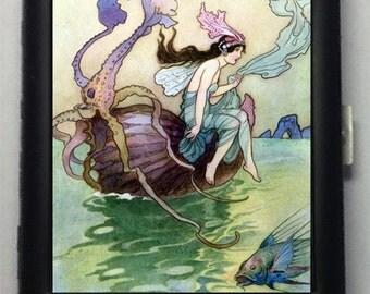 Fairies of the Sea Black Metal Wallet Cigarette Case  No.  706