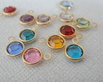 Silver or Gold Birthstone, Small Swarovski Crystal, Birth Month Stone Charm