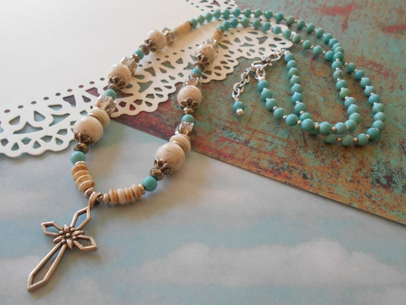 S A L E - 25% off - Sterling Silver Turquoise Jewelry Spiritual Cross White Turquoise Pyrite Boho Beach Gemstone Beaded Necklace