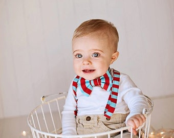 Bow tie, Bowtie, Boys Boytie, Holiday Bowtie and Suspender Set, Bowtie and Suspender set for newborn, toddler and boys