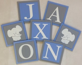 Elephant Nursery Room Decor Art Customized Baby Boy Wall Blocks Custom Name Sign 6x6 Square Light Blue Gray Personalized Wooden Plaques