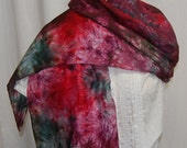 Hand Dyed Silk Scarf  Hand painted Scarf wine red green Holiday Christmas scarf Habotai Silk Batik women's fashion