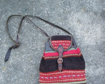 60's Old Leather Hand Woven Hippie Ecuador   Ethnic Purse