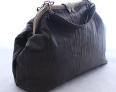 Large Leather Handbag Brown/Black Textured Leather