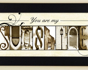 Alphabet Photography Letter Photos - You are my sunshine - framed 5x12