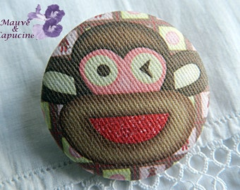 Fabric buttons, monkey, 0.94 in / 24 mm
