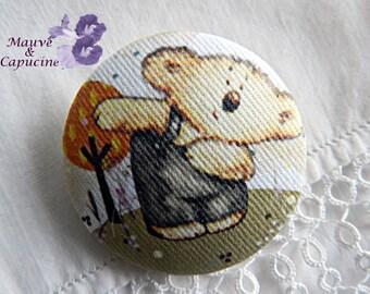 fabric button, printed bear