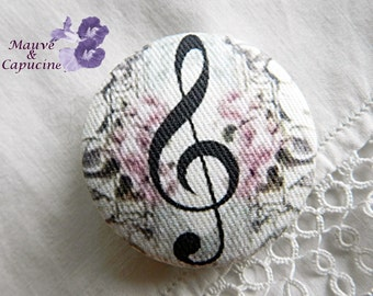 Fabric button, music, 1.57 in / 40 mm