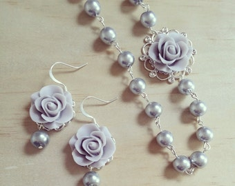 Gray necklace and earrings silver Gray Wedding jewelry set  Asymmetrical rose necklace gray Flower earrings Necklace Bridesmaid gift