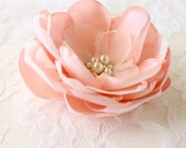 Blush Pink Bridal Flower Hair Clip, Blush Pink Wedding Hair Accessory, Blush Fascinator, Blush Pink Bridal Head Piece