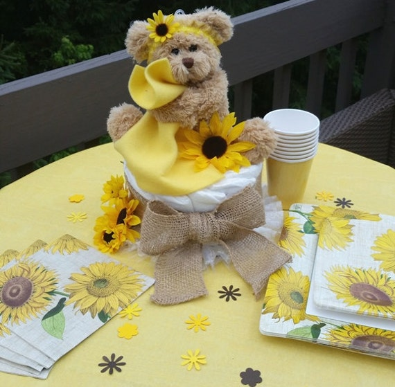 Sunflower baby shower rustic diaper cake