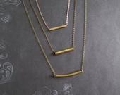 Niveau3 - Brass Copper Gold Minimalist Modern Essential Necklace, Three Layers, Three Strand, Three Metals