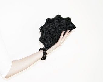 Hands Free Purse, Formal Evening Bag, Black Clutch Bag, Gift For Her, Minimalist Wallet Clutch, Wristlet Bag, Matching Bridesmaid Gifts