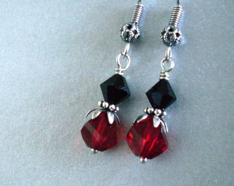 Red and black crystal earrings, Austrian crystals, antiqued Silver, petal bead caps, geometric earrings, blood red crystal jewelry