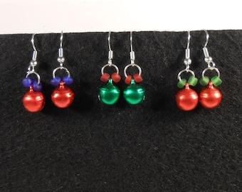 Mini Jingle Bell Christmas Holiday Earrings - Red or Green Bells with Beads
