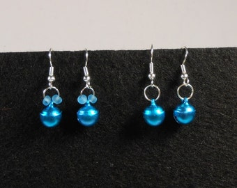 Mini Jingle Bell Christmas Holiday Earrings - Blue Bells with Beads or Without