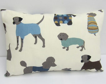 Oblong Dog Cushion Cover, Dog Pillow Sham, Dog Bolster Pillow cover Blue, Brown, Cream Choose Size 12x18, 12x20, 12x22 up to 12x24 Inch
