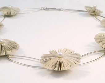 7 Literary blossoms - book  fragment necklace with sterling silver elements and Akoya pearls