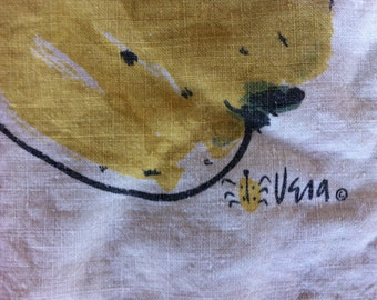 SALE Tablecloth Vintage VERA Neumann Ladybug Signature Lovely Linen Tablecloth with Yellow Apples or Fruit at Corners Linen VERA Est. 1960s