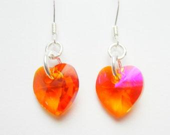 Swarovski Heart Elements Earrings Sterling Silver Astral Pink Beautiful Crystal Earring Orange Bright Pinks 348