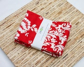 Large Cloth Napkins - Set of 4 - (N2841) - Red Floral Modern Reusable Fabric Napkins