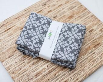 SALE - Large Cloth Napkins - Set of 4 - (N2450) - Gray Modern Reusable Fabric Napkins
