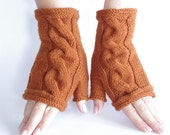 Hand knitted cozy wool and acrylic blend cable knit gloves/wrist warmers in maroon color - READY to ship