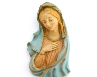 ITALIAN MARY ICON/ Religious Mary Chalk Ware Wall Art