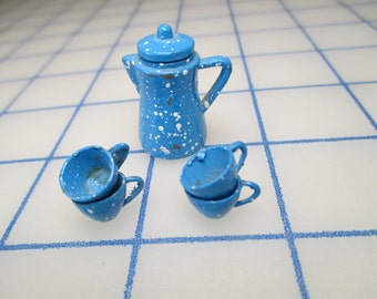 Vintage Miniature Enamelware - Coffee Pot With Cups