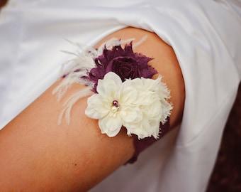 Shabby Chiffon Ivory Deep Purple Eggplant Lace Pearl Feather Flower Bridal Garter Vintage Wedding Garter Or Garter Set